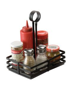 "8"" x 6"" Restaurant Condiment Basket Caddy with Card Holder"