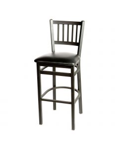 Oak Street Vertical Back Metal Frame Black Bar Stool | Walnut Seat