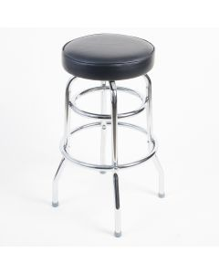 Art Deco Double Ring Cap Seat Barstool | Black