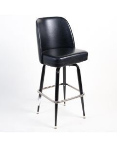 Heavy Duty Bucket Seat Swivel Bar Stool with Wide Seat - Black