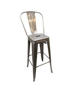 Metal Bistro Barstool - Silver with Clear Coat Finish