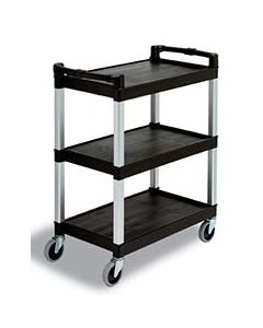 Cambro 3-Shelf Black Utility Bussing Cart