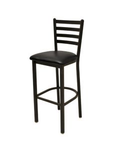 Metal Ladder Back Commercial Barstool with padded seat