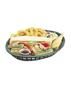 Tablecraft Jumbo Oval Plastic Fast Food Basket (Green, 1 Dozen)