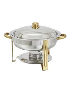 4 Qt Round Chafer Dish Set, Stainless Steel