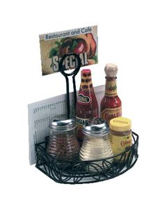 Tabletop Condiment Caddy Rack with Menu Clip Holder