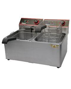 Winco EFT-32 Electric Countertop Fryer, Double Well, 32 lb Capacity