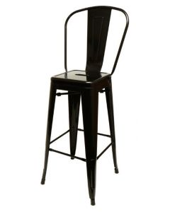 Gloss Black Metal Bistro Barstool - Stamped Steel