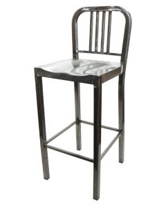 Metal Navy Barstool Welded Steel with Clear Coat Finish